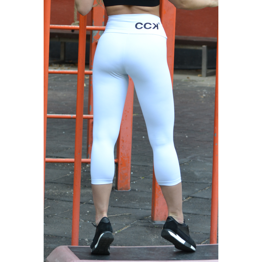 Fehér basic magasderekú női fitness sport caprinadrág